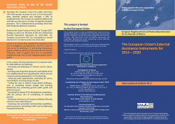 The European Union's External Assistance Instruments for 2014 - 2020 - 1